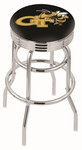Georgia Institute of Technology 25'' Chrome Finish Double Ring Swivel Backless Counter Height Stool with Ribbed Accent Ring [L7C3C25GATECH-FS-HOB]