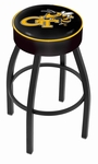 Georgia Institute of Technology 25'' Black Wrinkle Finish Swivel Backless Counter Height Stool with 4'' Thick Seat [L8B125GATECH-FS-HOB]