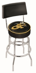 Georgia Institute of Technology 25'' Chrome Finish Swivel Counter Height Stool with Double Ring Base [L7C425GATECH-FS-HOB]