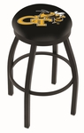 Georgia Institute of Technology 25'' Black Wrinkle Finish Swivel Backless Counter Height Stool with Accent Ring [L8B2B25GATECH-FS-HOB]