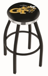 Georgia Institute of Technology 25'' Black Wrinkle Finish Swivel Backless Counter Height Stool with Chrome Accent Ring [L8B2C25GATECH-FS-HOB]