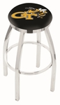 Georgia Institute of Technology 25'' Chrome Finish Swivel Backless Counter Height Stool with Accent Ring [L8C2C25GATECH-FS-HOB]