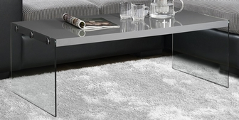 modern 44''w coffee table with tempered glass base - glossy gray