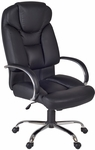 Goliath Height Adjustable Big and Tall Swivel Chair with Casters - Black Leather [1100BK-FS-REG]