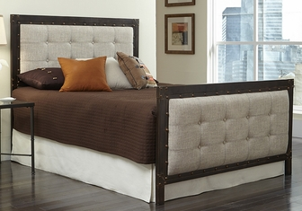 gotham classic style upholstered metal bed with frame king latte and brushed copper b71516 fs fbg - Metal Bed Frames King