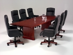 Governors 10' Rectangular Conference Table with Slab Bases - Engraved Executive Mahogany [7350-95-FS-DMI]