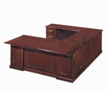 Governors 72'' W Left Executive U Desk - Engraved Executive Mahogany [7350-58-FS-DMI]