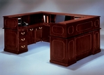 Governors 72'' W Right Reception U Desk - Engraved Executive Mahogany [7350-657-FS-DMI]