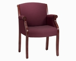 Governors Guest Chair - Burgundy Fabric - Engraved Executive Mahogany [6855-2201-FS-DMI]