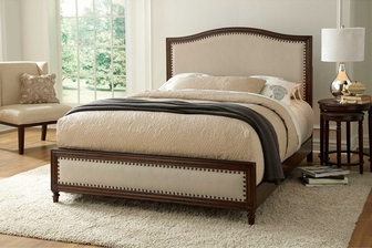 grandover transitional solid wood cross slats and nailhead trim upholstered bed frame king cream and espresso b71636 fs fbg - Upholstered Bed Frame