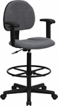 Gray Fabric Drafting Chair with Adjustable Arms (Cylinders: 22.5''-27''H or 26''-30.5''H) [BT-659-GRY-ARMS-GG]