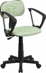 Green and White Zebra Print Swivel Task Chair with Arms [BT-Z-GN-A-GG]