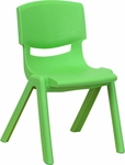 Green Plastic Stackable School Chair with 12'' Seat Height [YU-YCX-001-GREEN-GG]
