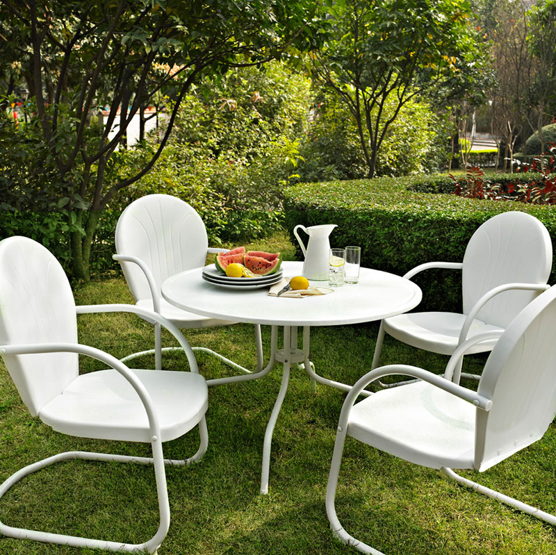white outdoor dining table with umbrella hole piece metal set finish chairs patio round