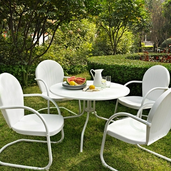 Griffith 5 Piece Metal Outdoor Dining Set   40u0027u0027 Round Dining Table In White  Finish With White Finish Chairs [KOD1004WH FS CRO]