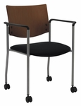 1300 Series Stacking Guest Armchair with Chocolate Wood Back and Casters - Grade 1 Upholstered Seat [CS1311SL-SP20-GR1-IFK]