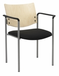 1300 Series Stacking Guest Armchair with Natural Wood Back - Grade 2 Upholstered Seat [1311SL-SP22-GR2-IFK]