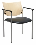 1300 Series Stacking Guest Armchair with Natural Wood Back - Vinyl Seat [1311SL-SP22-VINYL-IFK]