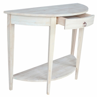 Half Moon Table butcher block top solid parawood 42''w x 32''h half moon console
