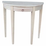 Butcher Block Top Solid Parawood 32''W X 31''H Half Round Table with Drawer - Unfinished [OT-3216H-FS-WHT]