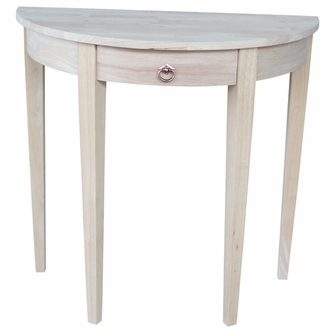 butcher block top solid parawood x half round table with drawer unfinished
