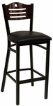 Half Wood Back Barstool with Slotted Accents - Grade 4 Vinyl [77B-BS-GR4-SAT]