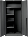 800 Series One Wide Single Tier Double Door Combination Cabinet Assembled - Midnight Ebony - 36''W x 24''D x 78''H [855C24A-ME-HAL]