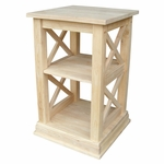 Hampton Solid Parawood 16''W X 26''H Accent Table with Storage Shelves - Unfinished [OT-70A-FS-WHT]