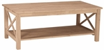 Hampton Solid Parawood 46''W X 18''H Coffee Table with Display Storage Shelf - Unfinished [OT-70C-FS-WHT]