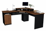 Hampton Corner Workstation with Monitor Shelf and Keyboard Shelf - Tuscany Brown and Black [69430-4163-FS-BS]