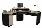 Hampton Corner Workstation with Monitor Shelf and Keyboard Shelf - Sand Granite and Charcoal [69430-4186-FS-BS]
