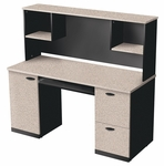 Hampton Credenza and Hutch with Filing Drawer and Keyboard Shelf - Sand Granite and Charcoal [69450-3186-FS-BS]