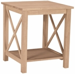 Hampton Solid Parawood 22''W X 25''H End Table with Display Storage Shelf - Unfinished [OT-70E-FS-WHT]