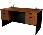 Hampton Executive Workstation with Hanging Pedestals - Tuscany Brown and Black [69400-2163-FS-BS]