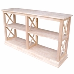 Hampton Solid Parawood 60''W X 34.5''H Sofa Server Table with Display Storage Shelves - Unfinished [OT-70SL-FS-WHT]