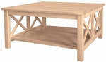 Hampton Solid Parawood 36''W X 18''H Square Coffee Table with Display Storage Shelf - Unfinished [OT-70SC-FS-WHT]