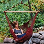 Caribbean Tight Weave Polyester Hanging Hammock Rope Chair - Burgundy [4913B-FS-ALG]