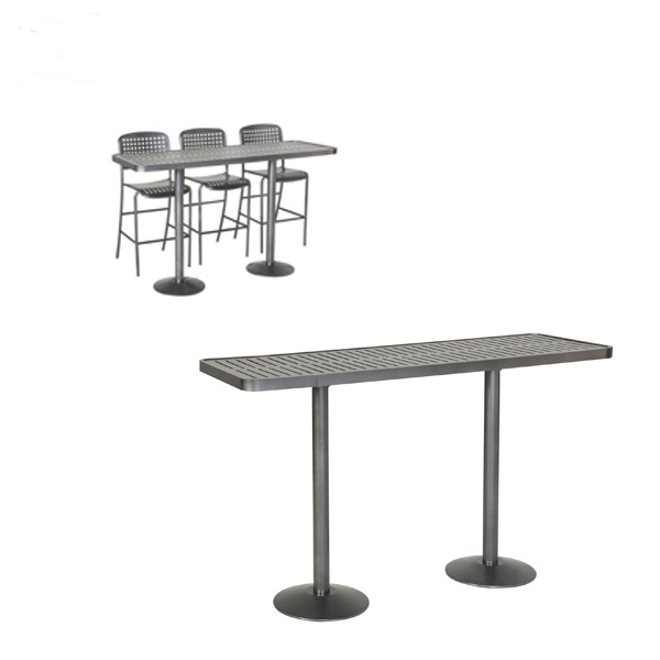 Hanna horizontal slat community dining table with pedestal for Html horizontal table