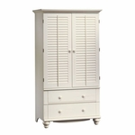Harbor View 71.625''H Armoire with Louver Doors - Antiqued White [158036-FS-SRTA]