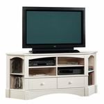 Harbor View 61.375''W Corner Entertainment Center with Adjustable Shelves - Antiqued White [402905-FS-SRTA]