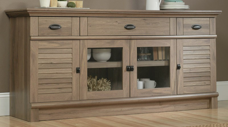 Harbor view entertainment credenza with for Furniture oak harbor