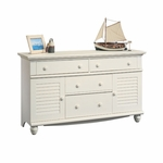 Harbor View 58.25''W Dresser with Louver Doors - Antiqued White [158016-FS-SRTA]