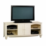 Harbor View 63''W x 25''H Wooden Entertainment Center with 2 Louver Doors - Antiqued White [403679-FS-SRTA]