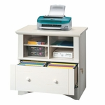 Harbor View 32''W x 31''H Wooden Lateral File Cabinet with Cubbyhole Storage - Antiqued White [158002-FS-SRTA]