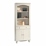 Harbor View 72.25''H Bookcase with Louver Doors - Antiqued White [158082-FS-SRTA]