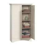 Harbor View 35''W x 61''H Wooden Storage Cabinet with Louver Doors - Antiqued White [400742-FS-SRTA]