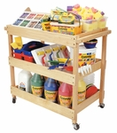Birch Hardwood 3 Shelf Utility Cart with Dual Handles and 4 Casters - 2 Locking [ELR-076-ECR]