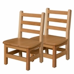 Solid Hardwood Chair with Tip Preventing Contoured Back Legs and Rounded Corners - Assembled - 13.75''W x 11.88''D x 22''H [81002-WDD]
