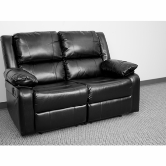 loveseat in leather black 5 - Black Leather Loveseat