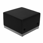 HERCULES Alon Series Black Leather Ottoman with Brushed Stainless Steel Base [ZB-803-OTTOMAN-BK-GG]
